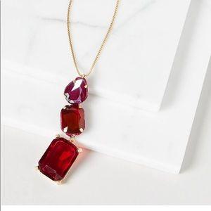 Stunning Triple Drop Necklace LB Merlot Red